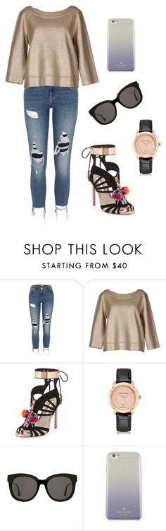 """Golden (ms)"" by ale-pink5 ❤ liked on Polyvore featuring River Island, Tru Trussardi, Sophia Webster, Trussardi, Gentle Monster and Kate Spade"