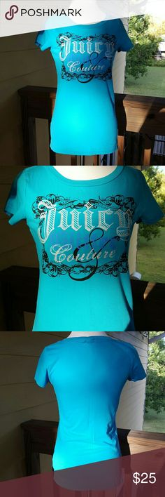 """{Juicy Couture} """"Juicy Glitter & Couture"""" Tee Like new, excellent condition. Juicy Couture turquoise tee that says """"Juicy Glitter & Couture."""" The color is so pretty and so is the design. 100% cotton. Made in Peru. Perfect for any day! Juicy Couture Tops Tees - Short Sleeve"""