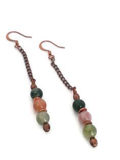 Copper Earrings, Pink Earrings, Green Earrings, Copper Jewelry, Copper Chain, Multi Stone Jewelry, Long Earrings by donnaspretties on Etsy