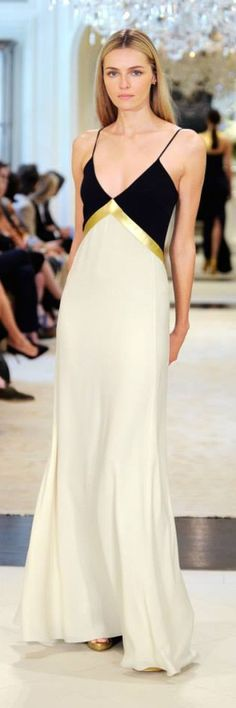 Ralph Lauren Resort 2015 Collection - cream and black evening dress with a little hint of gold