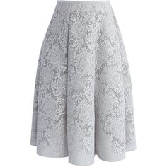 Blooming Romance Airy A-line Skirt in Grey Floral Print Skirt, Floral Prints, Floral Lace, Leaf Skirt, Chicwish Skirt, Led Dress, Elastic Waist Skirt, A Line Skirts, Cool Style