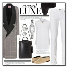 """CASUAL LUXE"" by littlefeather1 ❤ liked on Polyvore featuring rag & bone, Maison Michel, Derek Lam, Current/Elliott, Seiko, Nambé, topsets and polyvoreeditorial"