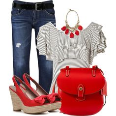 A fashion look from April 2013 featuring pattern shirt, boyfriend crop jeans and red heel shoes. Browse and shop related looks.
