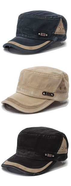 1bd9342f799 Unisex Cotton Blend Military Washed Baseball Cap Vintage Army Plain Flat  Cadet Hat For Men Women