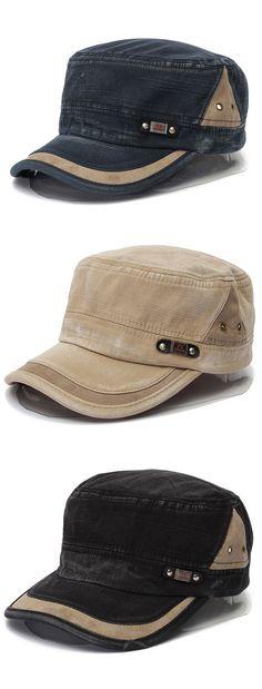 Unisex Cotton Blend Military Washed Baseball Cap Vintage Army Plain Flat  Cadet Hat For Men Women 78fb4727c79c