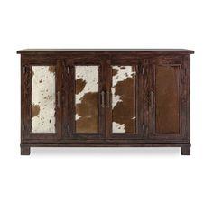 Caddo Cowhide Wood Sideboard