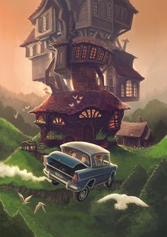 The Burrow- my favourite place in the wizarding world after Hogwarts Harry Potter Poster, Harry Potter Fan Art, Harry Potter Car, Fans D'harry Potter, Mundo Harry Potter, Images Harry Potter, Harry Potter Drawings, Harry Potter Universal, The Burrow Harry Potter