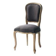 Stuhl aus Leinen und massiver Ulme, grautaupe Versailles