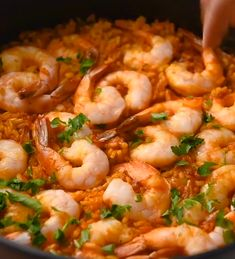 Spanish Rice Dish Paella Recipe ‐ This simple Shrimp and Chorizo Paella is easy to make, has classic paella ingredients with all Spanish flavors. Feed and impress a crowd with this paella recipe! dinner date SHRIMP AND CHORIZO PAELLA Shrimp Recipes, Fish Recipes, Mexican Food Recipes, Chorizo, Rice Recipes For Dinner, Cooking Recipes, Healthy Recipes, Risotto, Snacks