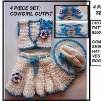 550-S COWGIRL SKIRT, HAT, VEST BOOTIES - via @Craftsy