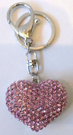 21abf6b63ba5 Rhinestone Bling Silver Tone Key Chain Purse Charm Fob Crystal Heart