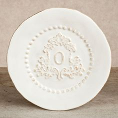 The GG Collection, 8.5 in Heirloom Salad Plate, Set of 4 - White, Crest Letter O  $76.00