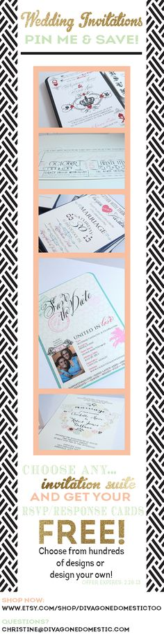 Pin it to SAVE on wedding invitations by Divagonedomestictoo on Etsy!