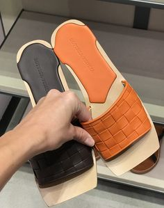 Bottega Veneta woven leather sandals in orange & chocolate colors by PSL Flat Lace Up Shoes, Half Shoes, Leather Sandals Flat, Leather Slippers, Shoes Flats Sandals, Flat Sandals, Gladiator Sandals, Designer Shoes On Sale, Spring Sandals