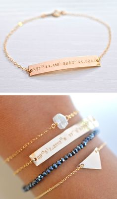 Custom Coordinates Bracelet - birth place or where you got married or just a special place. Jewelry Box, Jewelry Accessories, Fashion Accessories, Jewelry Making, Gold Jewellery, Jewlery, Fashion Jewelry, Designer Jewellery, Dainty Jewelry