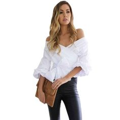 Women Bandage Blouse Strap Sexy Off Shoulder Shirt Party Casual V-neck Tops