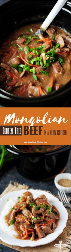 Mongolian beef recipe made gluten free in a crockpot! This is a perfect recipe for slow cooker beginners or for those who are just looking for a stupidly simple single pot meal. Slow Cooker Mongolian Beef Recipe, Mongolian Beef Recipes, Slow Cooker Beef, Slow Cooker Recipes, Crockpot Recipes, Real Food Recipes, Healthy Recipes, Delicious Recipes, Free Recipes