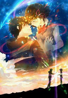 Kimi no na wa. Your name is. what's your name. Manga Anime, Film Manga, Film Anime, Manga Art, Me Me Me Anime, Anime Love, Mitsuha And Taki, Couple Manga, Otaku