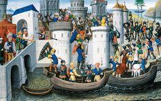 Η πολιορκία της Κωνσταντινούπολης(1204). Μικρογραφία από γαλλικό χειρόγραφο. 15ος αι.