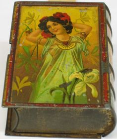 Book shaped antique tin Old Things, Things To Come, Tin Art, Trunks And Chests, Tin Containers, Vintage Tins, Advertising Signs, Tin Boxes, Good Old
