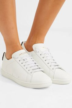 YSL - Court Classic metallic snake-trimmed leather sneakers