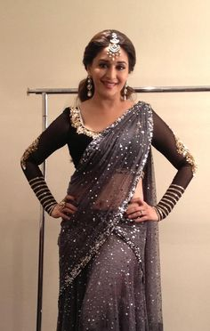 Madhuri Dixit in ash colour half saree with silver sequins paired with black gold thread work full sleevs blouse Pakistani Dresses, Indian Dresses, Indian Outfits, Pakistani Girl, Indian Beauty Saree, Indian Sarees, Indian Attire, Indian Wear, Indian Style