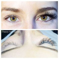 Side by side view of before and after lash extensions #lashextensions #sandiego Theory Hair Studio