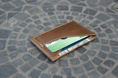 Uomo Slim doppia scheda portafoglio in pelle / di GuardedGoods