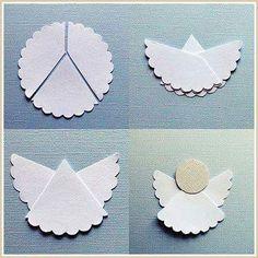 Idea de Angel hecho a mano muy fácil y simple para decorar un bautismo o comunión.  También puede hacerse con blondas. DIY. Handmade.