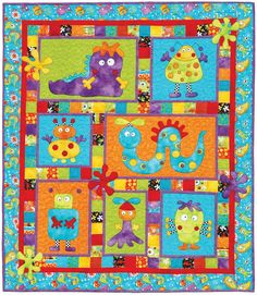 Monster Patch applique quilt pattern by Kids Quilts features silly, friendly alien monster's that look suspiciously like robots and bugs. What a wonderful, fun crib or lap sized children's quilt! Crea