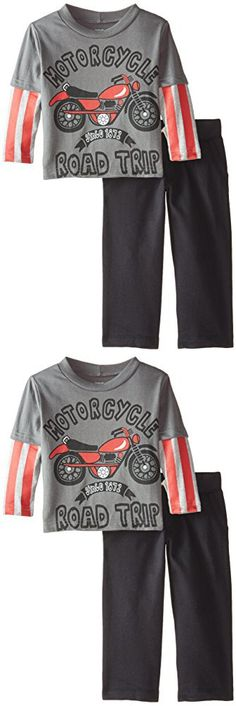 Gerber Graduates Baby Boys' Motorcycle Long Sleeve Top and Black Pant Set, Motorcycle, 12 Months