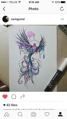 Beautiful watercolor tattoo of a Phoenix, rising from ashes. Instragam: Cemgunel.