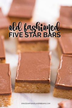 A Five-Star Bar Recipe makes one sweet reward! Whether you want to indulge in sweet cookies with your tea or you want the perfect cookie for the holidays, try this delightful Old-Fashioned Five-Star Bar Recipe. Best Dessert Recipes, Sweets Recipes, Brownie Recipes, Chocolate Recipes, Easy Desserts, Baking Recipes, Cookie Recipes, Delicious Desserts, Yummy Food