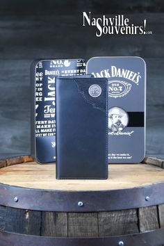 Jack Daniels Rodeo Wallet in Cowhide Old medallion Jack Daniels Decor, Jack Daniels Whiskey, Jack Daniel's Tennessee Whiskey, 7 Logo, Tin Boxes, Scotch, Rodeo, Get One, Wallets