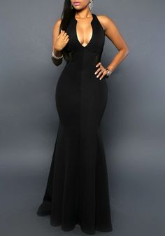 Black Patchwork Grenadine Hollow-out Deep V-neck Mermaid Masquerabe Prom Maxi Dress