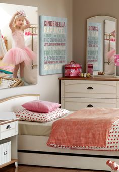 Remind your daughter that she is the princess of the room each day with custom word art. Fill her room with unique wall art that captures treasured memories and reminds her that she can accomplish anything she puts her mind to. Girl's Pink Fairy Tale Bedroom with wall art via @greatbigcanvas available at GreatBIGCanvas.com.