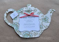 Diy tea party invitations with free printable tea pot template
