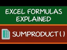 How to Use Excel SUMPRODUCT Function (with Video)