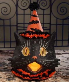 Sassy Cat Lantern Large - Bethany Lowe – Black Bow Halloween Shoppe. A beautiful large version of the classic Halloween cat!  Perfect for any vintage display.  Lights up with our orange C7 light, included FREE with this purchase!  Bethany Lowe.  Paper mache, crepe and pressed paper.  Large decoration!! 20″ x 15″.  FREE SHIPPING!