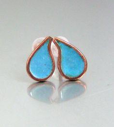 Rain drop earrings!!   Blue Drop Enamel and Copper Stud Earrings  MADE TO by GarnetRoses, $22.00