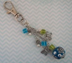 Beaded Bag Charm - Blue and Green