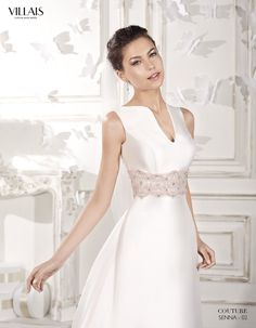 Senna - Empire style dress with boat neckline. It's made with mikado and has a central opening on the front. The mikado train is detachable. Civil Wedding Dresses, Wedding Gowns, Couture Collection, Bridal Collection, Bridal Outfits, Dream Dress, Bridal Style, Wedding Styles, Wedding Ideas