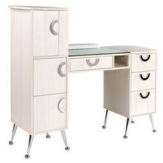Salon Furniture For Sale, Nail Desk, Nail Station, Salon Art, Chrome Handles, Cubbies, Retro Design, Storage Spaces, Manicure