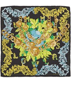 Versace Square Black Ivy Leaf Print Silk Scarf | Silk Scarves by Versace | Liberty.co.uk