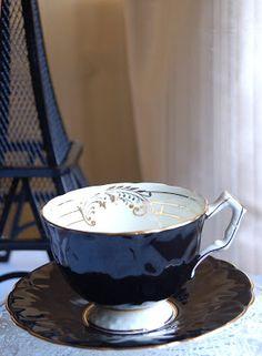 Blacke tea cup and saucer.