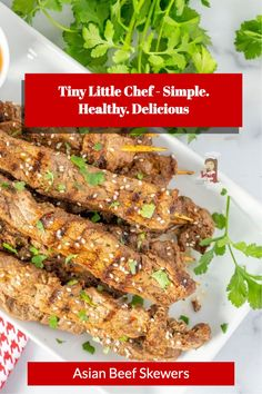 Beef Skewers, Asian Beef, Skewer Recipes, Low Sodium Soy Sauce, Little Chef, Fresh Ginger, Dairy Free, Paleo, Appetizers