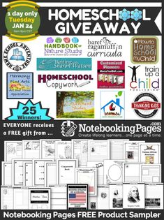 Check out this BIG homeschool giveaway (today only).  They are picking 25 winners! [LINK] http://notebookingpages.com