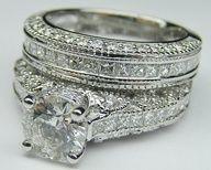 Vintage Three Side Pave Engagement Ring  Matching Wedding Ring #dental #poker