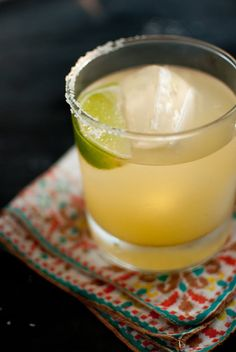 """The Best Margarita You'll Ever Have."" Made w agave nectar--a natural sweetener derived from the same plant as tequila, in place of the standard simple syrup.  (I'll be test driving this one [love the idea of only salting one side of the glass])"
