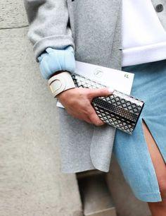 Tiany Kiriloff wears Cos jacket and Jimmy Choo clutch - London Fashion Week, Spring 2014